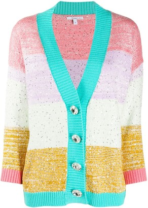 Olivia Rubin Sequin-Embellished Colour-Block Cardigan
