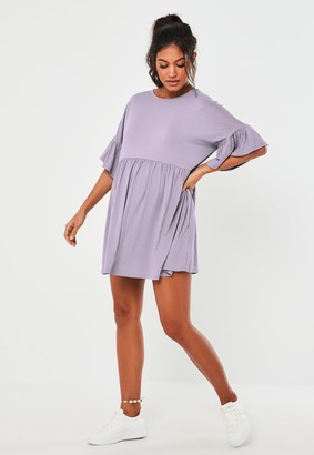 Missguided Lilac Frill Sleeve Maternity Smock Dress