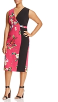 Marina Rinaldi Damiere Floral Blocked Sheath Dress