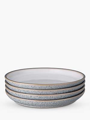 Denby Studio Grey Medium Coupe Plates, Set of 4, 21cm, Grey/Multi