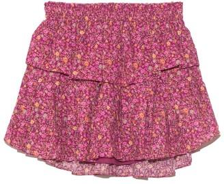 LoveShackFancy Ruffle Mini Skirt in Cherry Wine
