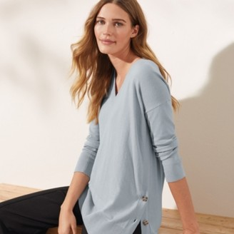 The White Company Cotton-Rich Button-Side Jumper, Misty Blue, 8