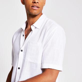 River Island White short sleeve linen regular fit shirt