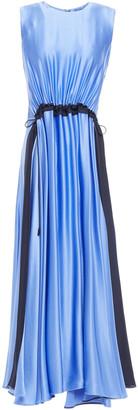 Roksanda Keeva Gathered Two-tone Silk-satin Midi Dress