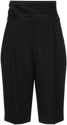 KHAITE Pleated High-Waisted Shorts