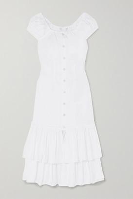 Caroline Constas Lyla Tiered Cotton-blend Midi Dress - White
