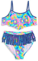 Flapdoodles Girls 7-16 Tie-Dye Fringe Bikini Set