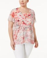 JM Collection Plus Size Printed Flutter-Sleeve Top, Only at Macy's
