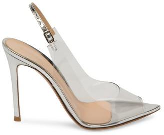 Gianvito Rossi PVC & Metallic Leather Peep-Toe Slingback Sandals