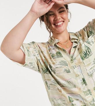 ASOS DESIGN Curve short sleeve shirt in hawaiian postcard print