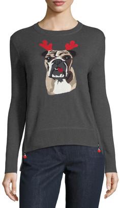 LISA TODD Petite Holiday Bulldog Cashmere Sweater