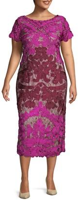 JS Collections Plus Soutache Lace Midi Dress