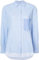 Derek Lam 10 Crosby Long Sleeve Mixed Button-Down Shirt