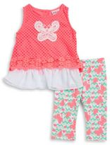 Little Lass Little Girls Butterfly Tunic and Leggings Set