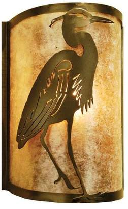 """Mica Meyda Lighting 8""""W Heron Right Wall Sconce, Antique Copper/Silver"""