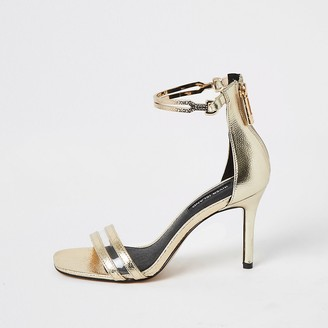 River Island Gold wide fit high heel ankle cuff sandal