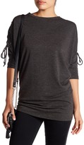 Bobeau Lace Up Sleeve Cocoon Knit Top