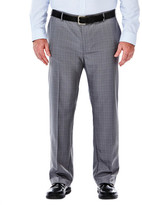 Haggar Big & Tall Performance Microfiber Slacks, Micro Plaid - Straight fit, Flat Front, Flex Waistband (non-expandable)