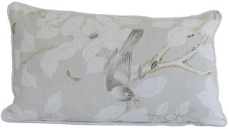 Dawn Wolfe Design Chinoiserie 14x22 Lumbar Pillow - Gray/White Linen