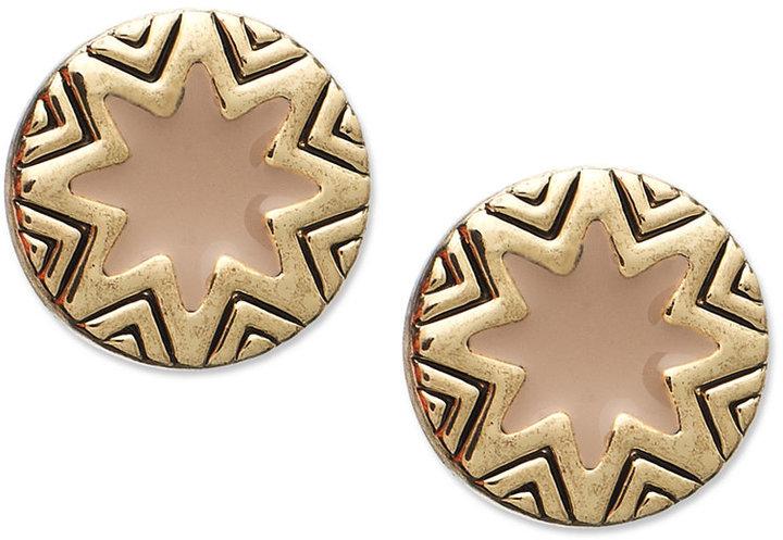 House Of Harlow Earrings, Gold-Tone Sunburst and Khaki Enamel Stud Earrings