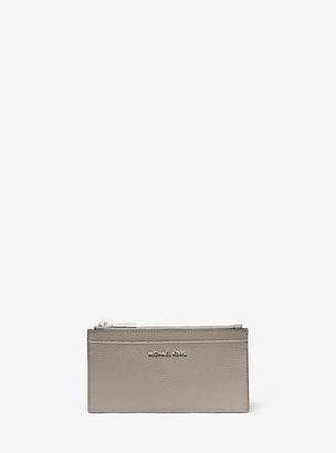 MICHAEL Michael Kors MK Large Pebbled Leather Card Case - Pearl Grey - Michael Kors