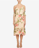 CeCe Alice Floral-Print Cold-Shoulder Midi Dress
