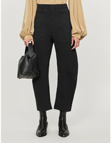Nili Lotan Straight-leg high-rise stretch-cotton cropped trousers