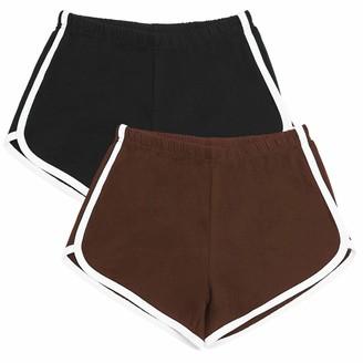 URATOT 2 Pack Cotton Sports Shorts Yoga Dance Short Pants Summer Running Athletic Elastic Waist Shorts (Black+Light Gray L)