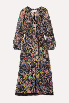 IRO Ramona Metallic Printed Chiffon Midi Dress