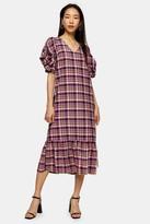 Topshop Womens Pink Check Twist Sleeve Midi Dress - Pink