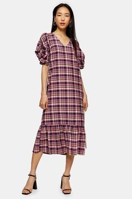 Topshop Pink Check Twist Sleeve Midi Dress