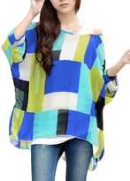 Allegra K Women Geometric Prints Sheer Oversize Batwing Tops Blouse