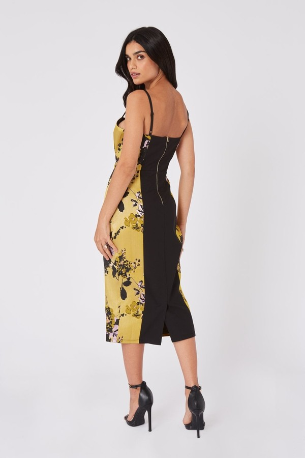 Thumbnail for your product : Little Mistress Robin Yellow Floral Jacquard Midi Bodycon Dress