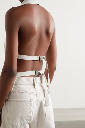 Gold Sign Open-back Cotton-twill Halterneck Vest - Off-white