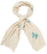"Blumarine Embroidered Butterfly Long Scarf, 70"" x27"""