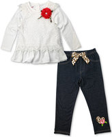Nannette 2-Pc. Lace Top & Denim Leggings Set, Toddler Girls (2T-4T)
