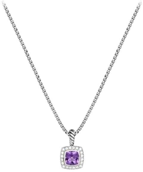 David Yurman Petite Albion Sterling Silver Amethyst and 0.17 Ct Diamond Pendant Necklace