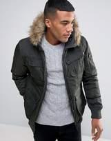 Brave Soul Short Parka With Faux Fur Hood