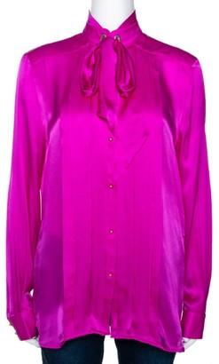 Roberto Cavalli Fuschia Pink Silk Satin Bow Detail Blouse M