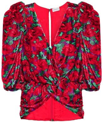 Magda Butrym Toledo floral velvet blouse