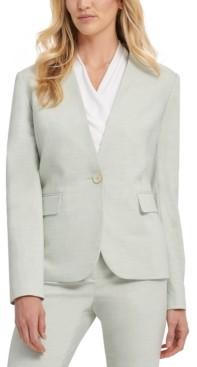 DKNY Petite Twill Collarless One Button Blazer