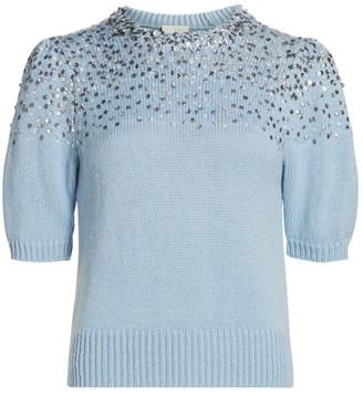 Cinq à Sept Lisa Embellished Wool-Blend Short Puff-Sleeve Sweater