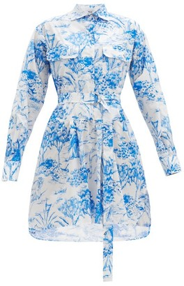 MSGM Jungle-print Cotton Shirt Dress - Blue White