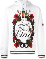 Dolce & Gabbana I want to bee king print hoodie - men - Cotton - 48
