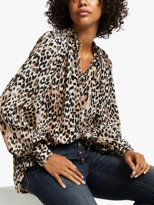 AND/OR Ivy Blurred Leopard Print Blouse, Multi