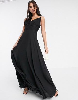 ASOS DESIGN Bridesmaid cami maxi dress with ruched bodice and tie waist