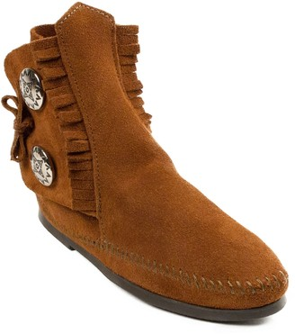 Minnetonka Men's Two Button Suede Hard Sole Boots