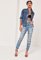 Missguided High Rise Chain Ripped Jeans Mid Blue