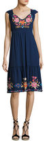 Johnny Was Anaya Tiered Dress with Embroidery