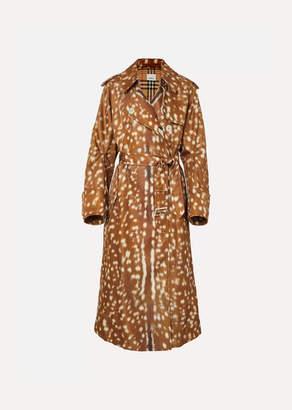 Burberry Animal-print Gabardine Trench Coat - Brown